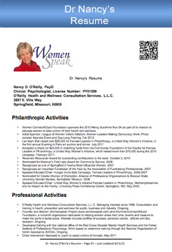 Dr. Nancy O'Reilly Resume
